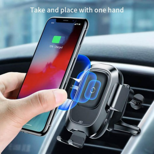 Wireless Charger Baseus Smart Vehicle Bracket Black