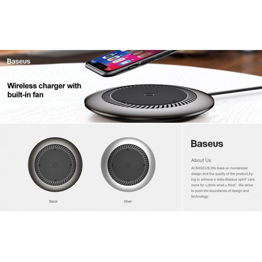 Wireless Charger Baseus Whirlwind 10W + Type-C Cable / Black
